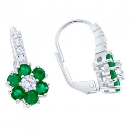 Pendientes Classic Purity Emerald Flower