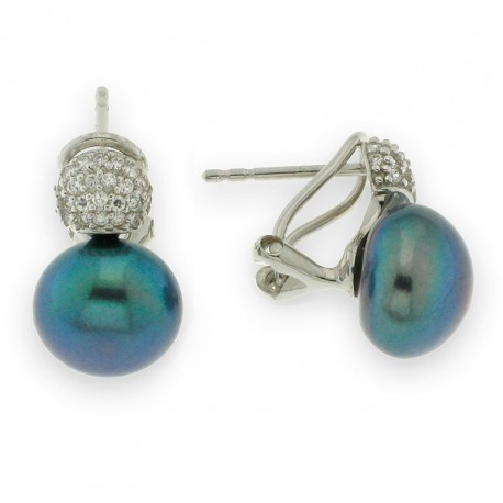 Pendientes con perla natural realizados en plata de primera ley