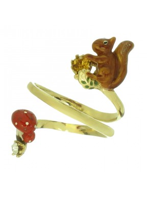 Anillo Squirrel chapado en oro